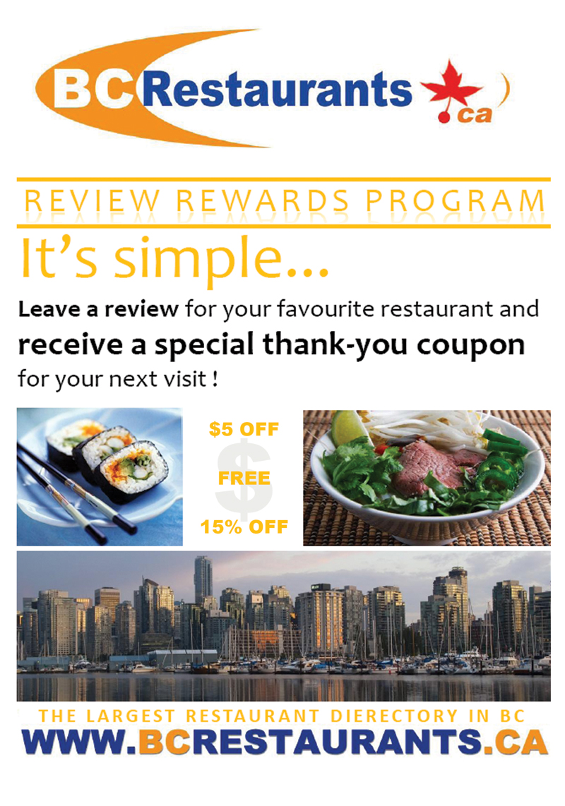 BCRestaurants.ca : Review Rewards Program