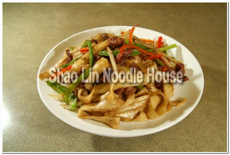 Fried Noodles with Beef. Green Pepper. Red Pepper. Onion& Black Peppers